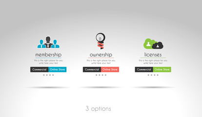3 choices menu for modern websites
