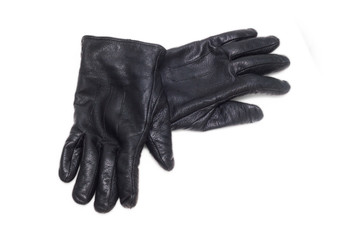 black pair leather gloves isolated on white background