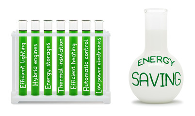 Formula of energy saving. Concept with green and white flasks.