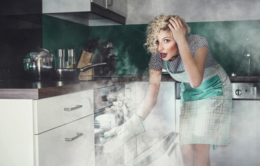 Creative photo of a astonished woman cook frying lunch