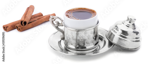Turkish Coffee with Cinnamon Sticks