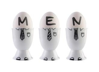 Eggs, men concept.