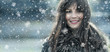 Beautiful young woman in a winter snow day - 59520255