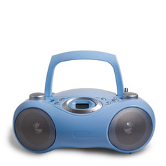 blue stereo CD mp3 radio cassette recorder isolated