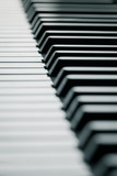 Piano keys in cool tone