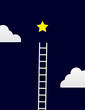 Ladder steps up to star with clouds