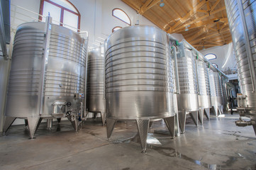Modern aluminum barrels for wine