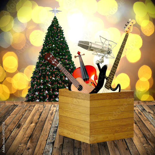 Play music in holiday concept, Christmas day