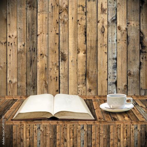 Read book with coffee in library concept