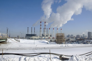 Power plant with smoking chimneys in Moscow.