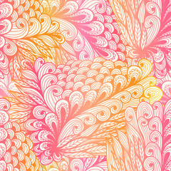 Seamless pink gradient doodle pattern with spirals