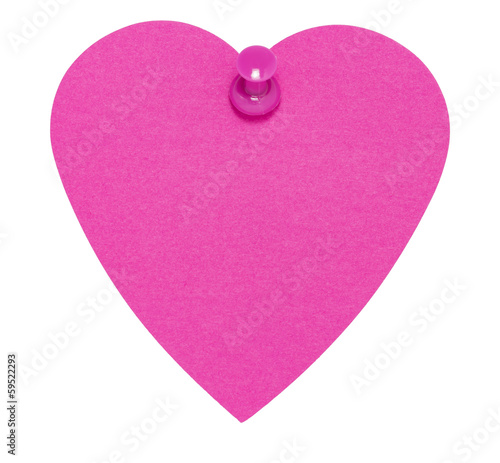 Heart Sticky Label, with pink pin, isolated on white background