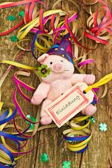 Glücksschwein mit Anhänger, Einladung