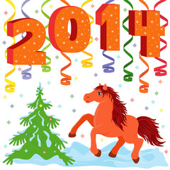 New Year 2014 and symbol of year a Horse