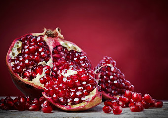 Pieces of pomegranate fruit