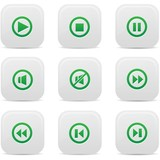 Audio buttons,Green version,vector