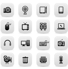 Technology buttons,Black version,vector