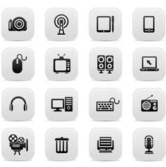 Technology buttons,Black version,vector
