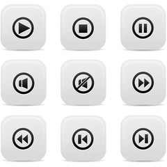 Audio buttons,Black version,vector