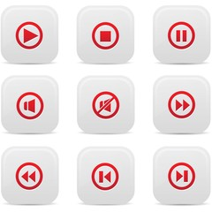 Audio buttons,Red version,vector