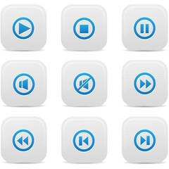 Audio buttons,Blue version,vector