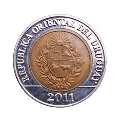 Coin of ten Uruguayan pesos.