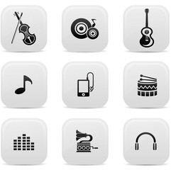 Music buttons,Black version,vector