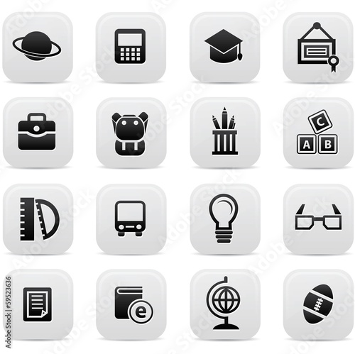 Education buttons,Black version,vector