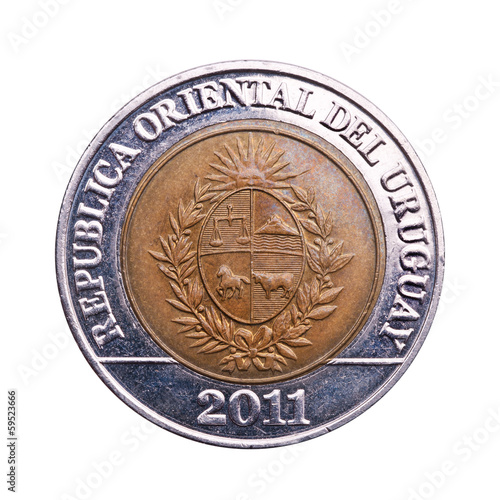 Coin of ten Uruguayan pesos.