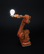 Industrial robot holding a bulb