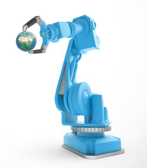Industrial robot holding a small globe