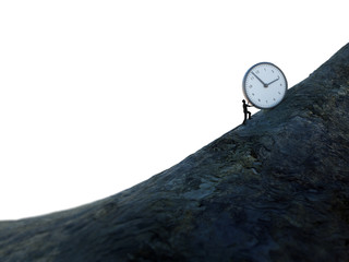 Tiny man pushing a clock up hill