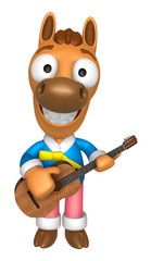 3D Horse has to be playing the guitar. 3D Animal Character Desig