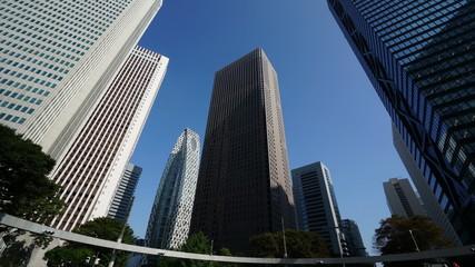 新宿高層オフィス街 (高層ビル群を見上げる)インターバル撮影