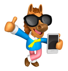 Wear sunglasses 3D Horse Mascot the left hand best gesture and r