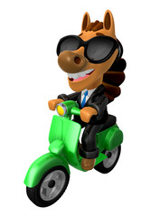 3D Horse character the Green motorbike driving. 3D Animal Charac