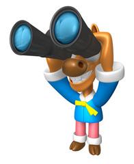 3D Horse mascot in binoculars watching. 3D Animal Character Desi