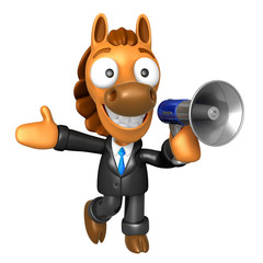 3D Horse Mascot the right hand best gesture and left hand is hol