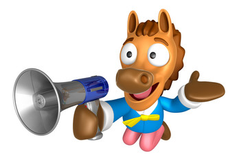 3D Horse Mascot the right hand guides and left hand is holding a