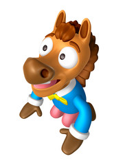 Korea Traditional 3D Horse Mascot is a polite greeting. 3D Anima