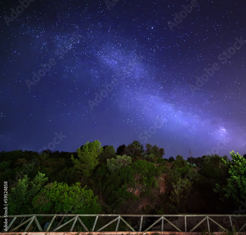 Sky with stars in night, milky way