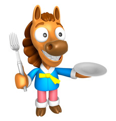 3D Horse Mascot hand is holding a Fork and Plate. 3D Animal Char