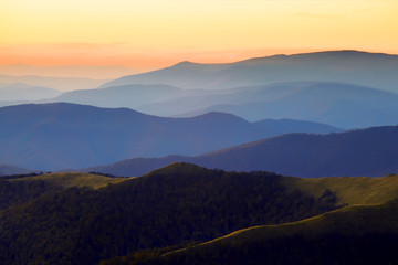 Sunset landscape in Carpathian mountains