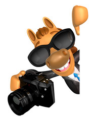 Wear sunglasses 3D Horse mascot hand is holding a Camera and boa