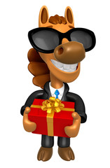 Wear sunglasses 3D Horse mascot the hand is holding a Big Gift B