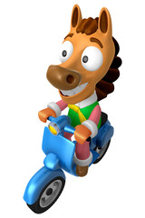 3D Horse character the Blue motorbike driving. 3D Animal Charact