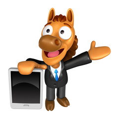 3D Horse mascot the left hand guides and the right hand is holdi