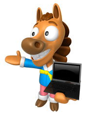 3D Horse Mascot the left hand guides and right hand is holding a