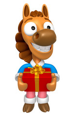 3D Horse mascot the hand is holding a Big Gift Box. 3D Animal Ch