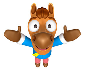 3D Horse mascot has been welcomed with both hands. 3D Animal Cha